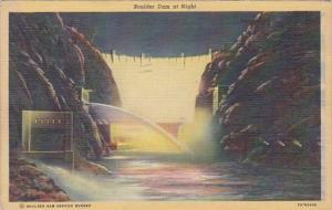 Nevada Las Vegas Boulder Dam At Night 1946 Curteich