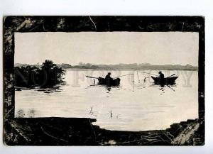 215538 SILHOUETTE Fishing Boat by PODKOWINSKI Vintage 1908 PC