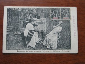 French Indo China Postcard Unused 1900-06 writing on the card Women Painting