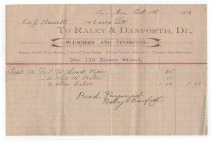 1896 Billhead, Raley & Danforth. Dr., Plumbers & Tinsmiths, Lynn, Massachusetts