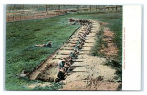 Postcard Infantry Entrenched US Army WWI Military T19