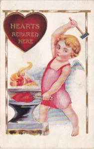 Valentine's Day Cupid Repairing Hearts On Anvil