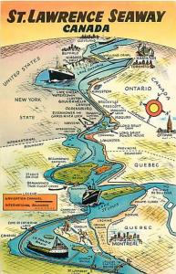 St. Lawrence Seaway Canada Chrome Map Card