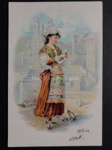 Lady in National Costume with Doves & Birds c1902 UB