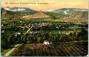 CASHMERE, Washington Postcard Aerial / Panorama View Wenatchee Valley c1910s