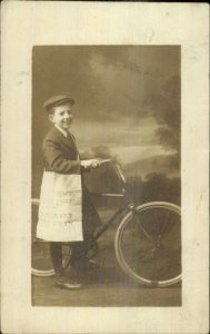 Rome GA Saturday Evening Post Newspaper Delivery Boy Bicycle RPPC 1914 xst