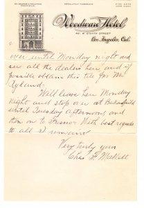 Woodward Hotel – Los Angeles CA – letterhead / letter – 1921