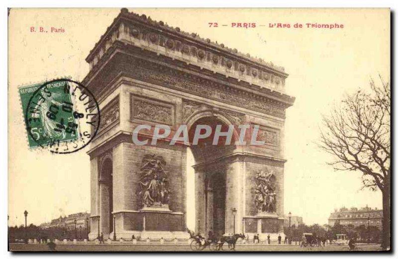 Old Postcard Paris L & # 39Arc De Triomphe