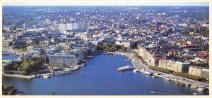 Panoramic Size Sweden Postcard The East Side of Stockholm from the Air OS44