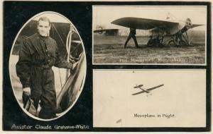 AVIATOR CLAUDE GRAHAME-WHITE NJEPORT MONOPLANE ANTIQUE REAL PHOTO POSTCARD RPPC