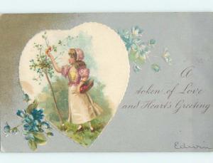 Pre-1907 valentine PRETTY GIRL COLLECTING FRUIT IN BASKET INSIDE HEART HJ2147