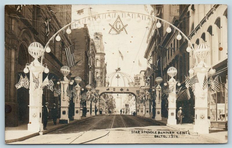 Postcard MD Baltimore Star Spangle Banner Centennial Masons Patriotic RPPC S7