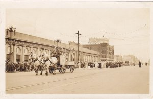 RP;WINNIPEG, Manitoba, Canada, 1931;  Parade, Horse-drawn wagon crowd