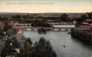 View From Theater Tower, Stratford-On-Avon, England, Early Postcard, Unused
