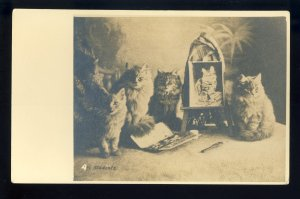 Early Cats/Kittens Postcard, Art Students, RPPC, Real Photo Post Card