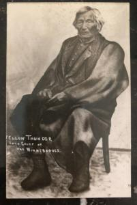 1909 USA Postcard Cover Native American Indian Yellow Tinder Chief Winnebagoes