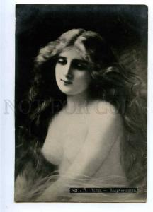 187939 Semi-Nude Lady w/ LONG HAIR by Angelo ASTI old RUSSIA