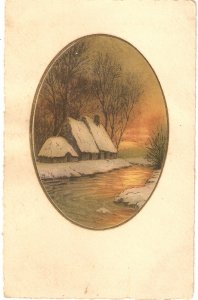 Landscape with houses, river.. Fine painting, vinage French postcard