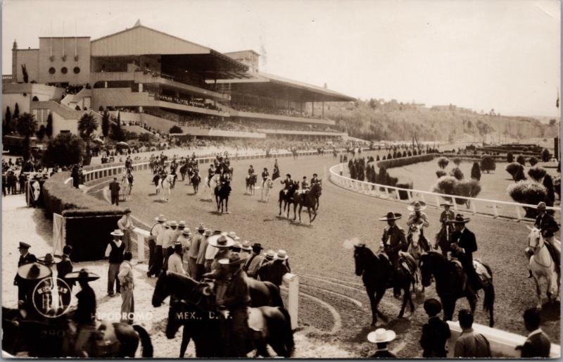 Hipodromo Mexico Horse Race Track RPPC Real Photo Postcard D40