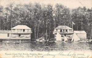 Mendon MA Busy Nipmuc Canoe Club House~B&W Postcard 1906
