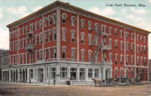 Rochester Minnesota Cook Hotel Street View Antique Postcard K15318