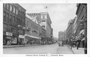 Portland Maine~Congress Street @ Brown~WT Grant~PMBB Co~Scotts~1940 B&W Postcard