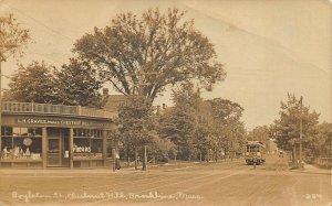 Brookline MA Boylston Street Pharmacy Storefronts Trolley 1919 RPPC