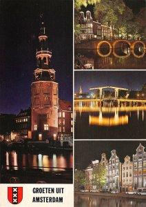 B108762 Netherlands Holland Amsterdam Tower Boats Night view Bridge