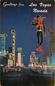 1968 Fremont Street Night Neon LAS VEGAS NEVADA Western Resort 4816