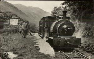 Wales RR Train Sir Haydn Abergynolwyn Station Real Photo Postcard