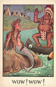Vintage Comic Saucy Fun Postcard, Mermaid, Red Indian Chief WOW! WOW! AF4