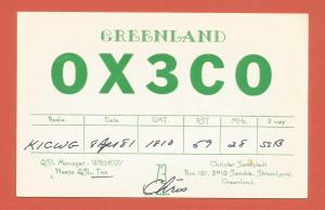 QSL AMATEUR RADIO CARD – SONDRE STROMFJORD, GREENLAND – 1981