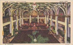 Missouri St Louis Grand Lobby New Hotel Jefferson Curteich