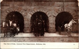 Postcard IN Indiana Kokomo Central Fire Department Horse-Drawn Engines 1908