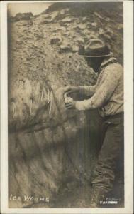 Alaska? Gathering Ice Worms Glacier? P.S. Hunt c1910 Real Photo Postcard