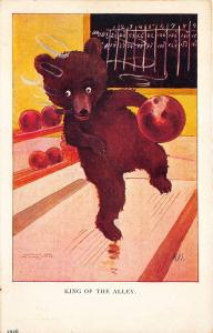 Artist Signed M. D. S. Cigar Smoking Bear Bowling King Of The Alley Postcard