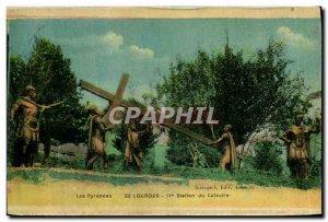 Old Postcard Lourdes 2nd Station Caivaire