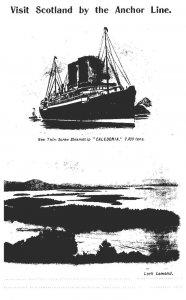 T.S.S. Caledonia  Anchor Line , vist Scotland and  Menu July 20th 1906
