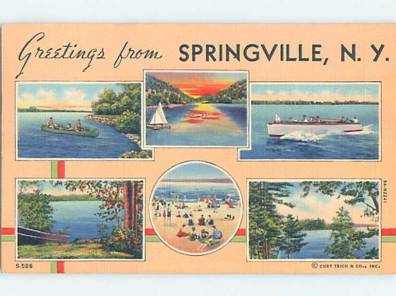 Pre-1980 MULTIPLE VIEWS ON CARD Springville New York NY ho8123