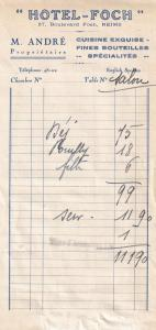 Hotel Foch Reims 1939 WW2 Receipt