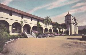 California Santa Barbara Mission Santa Barbara Queen Of The Missions Handcolo...