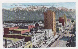 Utah Salt Lake City Main Street With Wasatch Mountains In Distance