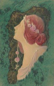 Art Nouveau Female Head Portrait, 1913 ; PFB 7227