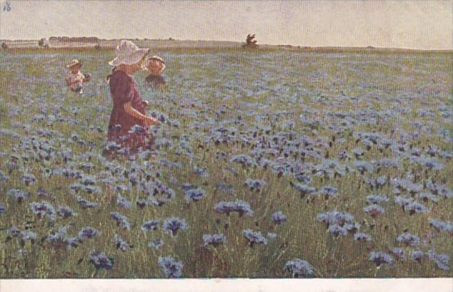 Russia Young Girls In Field Of Blue Flowers