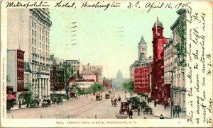 Vtg Postcard 1905 UDB Washington DC - Pennsylvania Avenue Street View Trollies