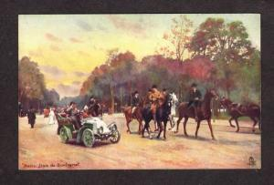 France Paris Bois de Boulogne Car Horses Tuck Oilette Carte Postale Postcard
