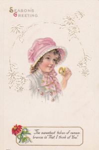 Season's Greeting, Girl wearing pink bonnet holding pocket watch, 00-10s