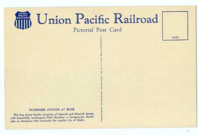 Linen Card of Union Pacific Passenger Station Boise Idaho ID