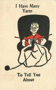 Arts Crafts Sewing Yawn Tales Saying artist impression C-1910 Postcard 20-13031