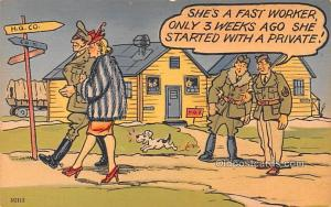 Military Comic Postcard, Old Vintage Antique Post Card Artist Chelmow Unused